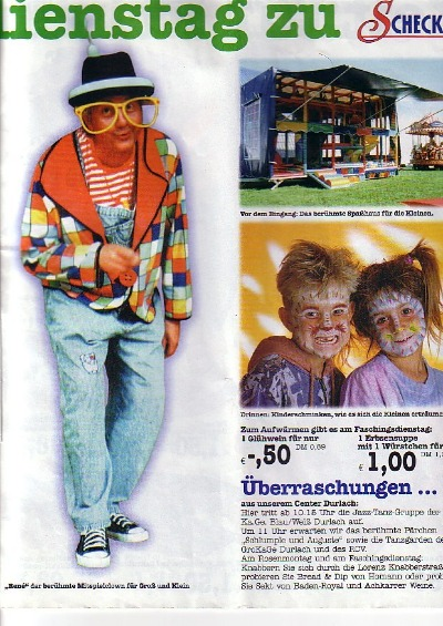 "René Zind als ""MitSpiel-Clown"" (aus: Werbeflyer EDEKA-Center Scheck-In 2002)"